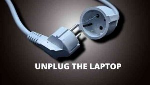 unplug the laptop to remove gateway battery