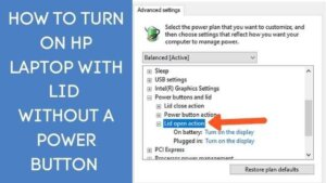 how to turn on hp laptop with lid without power button